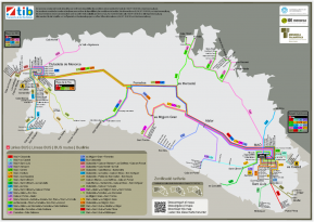 Mapa Lineas de Autobus de Menorca