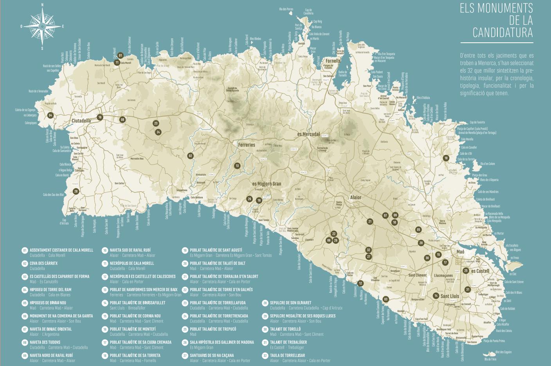 Mapa de Yacimientos Talayóticos de Menorca