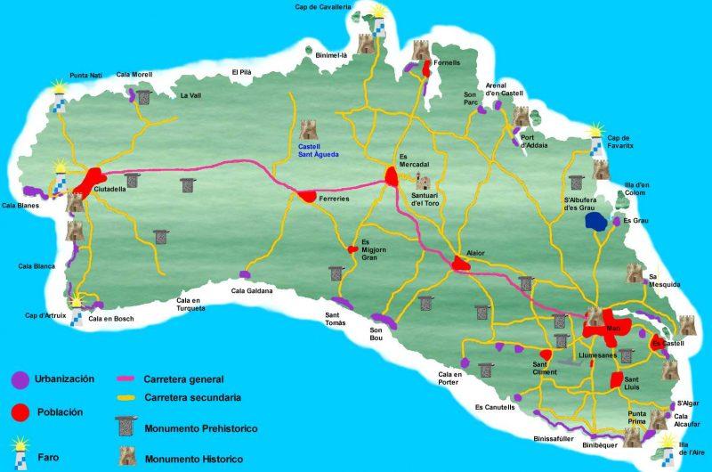 mapa poblaciones urbanizaciones monumentos carreteras faros menorca