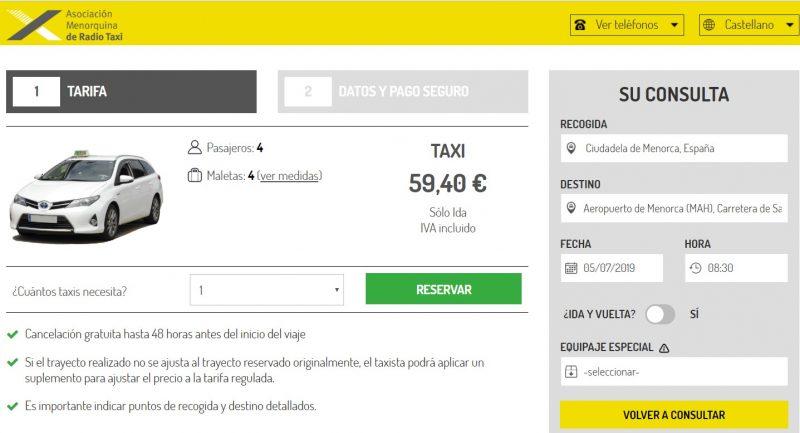Precio taxi ciutadella - aeropuerto verano de 2019