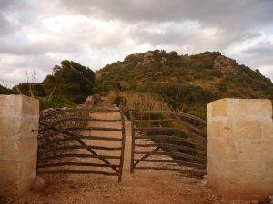 Puerta de madera en Camino al Castillo de Santa Àgueda