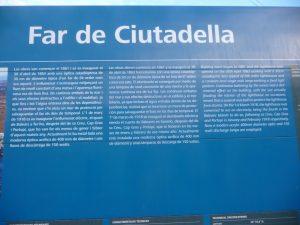 Cartel informativo del Faro de Sa Farola