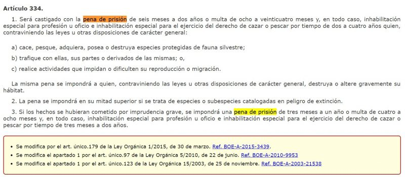 Articulo 334 Codigo Penal